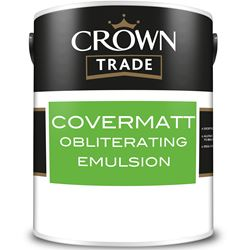 Buy 3 for £109 & Free Delivery on Crown Trade Covermatt Obliterating Emulsion 10L Ready Mixed